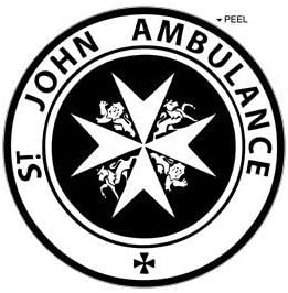St John Ambulance Black Window Bumper Locker Sticker Circle