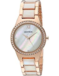 Armitron Womens 75/5468MPRG Swarovski Crystal Accented Rose Gold-Tone and Mother-of-Pearl Bracelet Watch