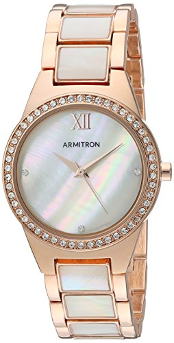 (Armitron Women's 75/5468MPRG Swarovski Crystal Accented Rose Gold-Tone and Mother-of-Pearl Bracelet Watch)