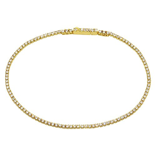 CloseoutWarehouse Small Clear Cubic Zirconia Tennis Bracelet Yellow Gold-Tone Plated Sterling Silver