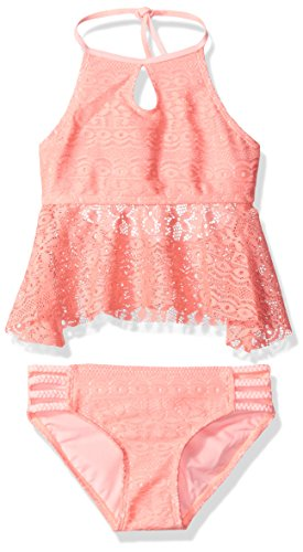 Gossip Girl Big Girls' Gypsy Breeze Crochet Two Piece Tankini Swimsuit, Pink, 12