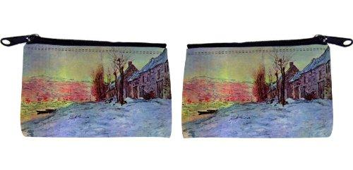 Rikki KnightTM Claude Monet Art Lava Court Sunshine and Snow Messenger Bag - - Shoulder Bag - School Bag for School or Work - With Matching coin Purse