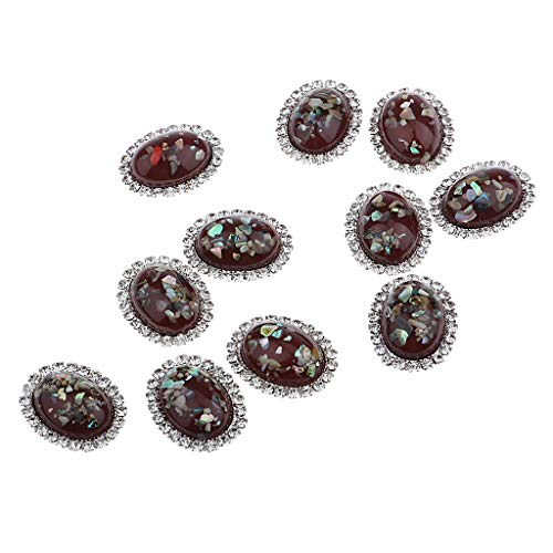 (Prettyia 10 Pieces Rhinestone Embellishments Pearl Flatback Crystal Buttons Oval for Wedding Party Phone Case Decoration and DIY Scrapbooking Crafts - 4 Colors - Red )