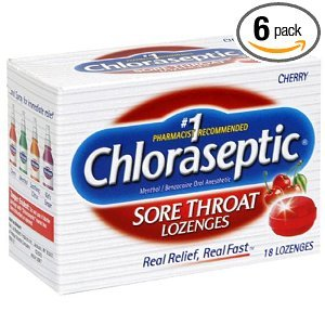 Choloraseptic Sore Throat 18 lozenges/Cherry,Soothing  (Pack of 6)