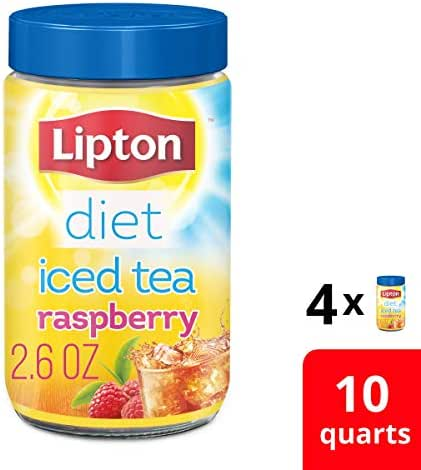 Lipton Diet Iced Tea Mix for a delicious low calorie refreshment Sugar Free Raspberry Made from 100% Real Tea Leaves, 2.6 Ounce, Pack of 4