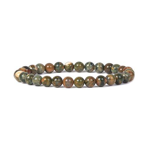 - Natural Rhyolite Jasper Gemstone 6mm Round Beads Stretch Bracelet 6.5
