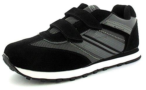 Hombre barato negro doble cierre adhesivo Zapatillas de correr - Negro/gris - GB Tallas 6-12