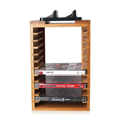Multifunctional Detachable Bamboo Storage Stand Kit Organizer For  Playstation 4 PS4, Dualshock 4 Controller Charging Station And Console  Stand Holder