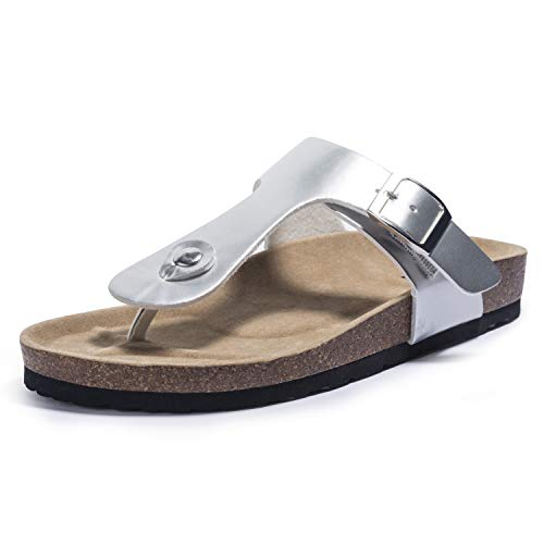 FITORY Womens Thong Sandals Flat Cork Flip Flops with Arch Support for Summer Silver