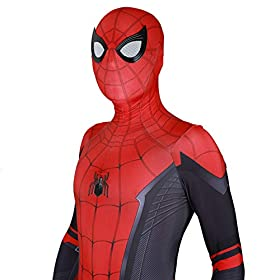 Silica Gel Spider Logo Unisex Lycra Spandex Zentai Halloween 2019 New Far From Home New Spiderman Cosplay Costumes Adultkids