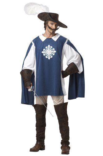 [California Costumes Musketeer Set, Blue/White, Medium] (Adult Musketeer Costumes)