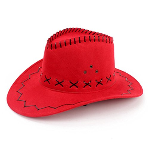 HMILYDYK Flannel Strap Winding Wave Pattern Faux Suede Cowboy Hat Knight Hats Red