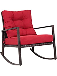 Kinbor Rattan Rocker Chair Outdoor Garden Rocking Chair Wicker Lounge W/Red  Cushion