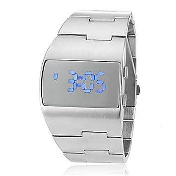 Relojes Hermosos, Azul futurista de los hombres llevó el reloj digital de pulsera de plata banda de acero: Amazon.es: Deportes y aire libre