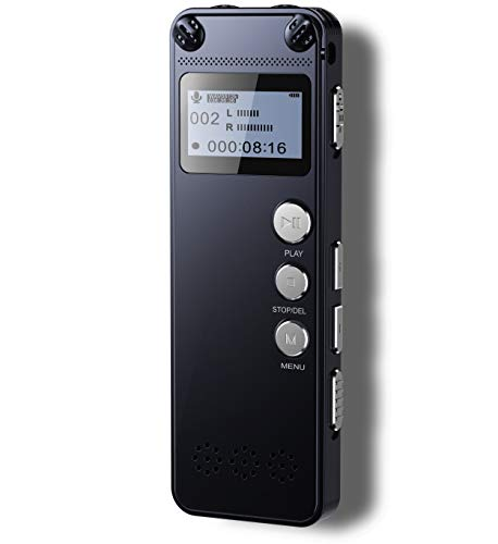 ce Recorder,Metal Body,1536kbps HD Audio Dictaphone with Playback,145-hour Recording,Noise Reduction,Auto Activation,MP3,Rechargeable Battery for Meeting/Lecture/Interview/Class ()
