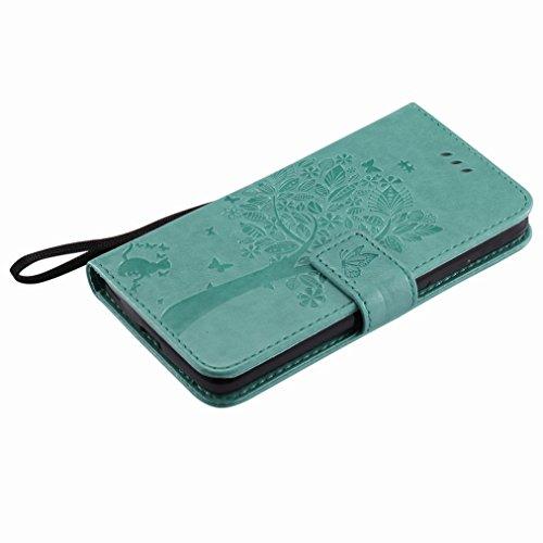 Yiizy Motorola Moto G5 Custodia Cover, Albero e Gatti Goffratura Design Sottile Flip Portafoglio PU Pelle Cuoio Copertura Shell Case Slot Schede Cavalletto Stile Libro Bumper Protettivo Borsa (Verde)