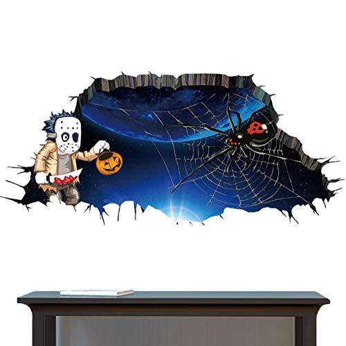 Rumas Happy Halloween Spider 3D Floor Stickers Scary - Wall Stickers Family Kids Room - Bathroom Decor - Art DIY Wall Murals - Wall Decals -