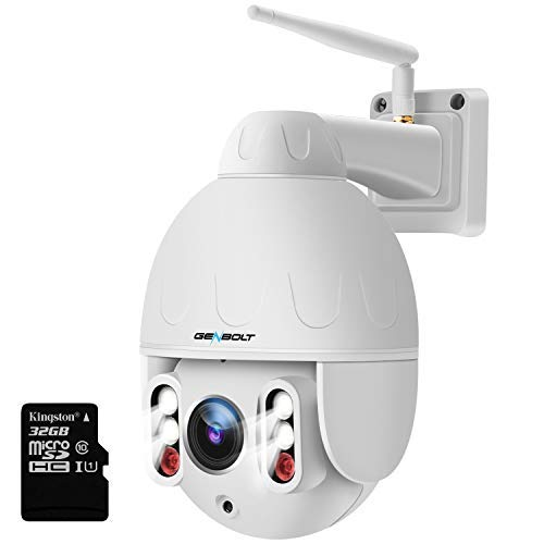 1080P WiFi Security Camera Outdoor,GENBOLT Wireless Surveillance Pan Tilt 5X Optical Zoom CCTV IP Speed Dome Camera with Auto Bright Night Light,Two Way Audio,IP66 Waterproof,Auto Focus PTZ Camera