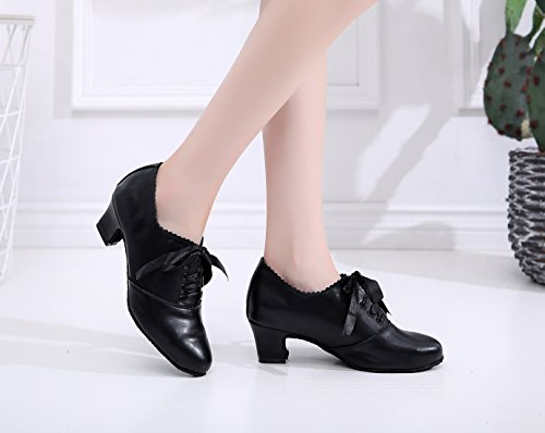 Latin Dress Shoes Formal Synthetic Ballroom UK Ruched MINITOO Black Low Pumps Lace up Heel Ladies Chunky 5 Dance 5 W6Rqfvw