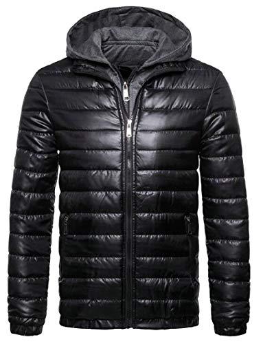 Hooded Coats Padded Packable Men's Jackets Down Black Gocgt Zip Puffer Winter AwxOpqt