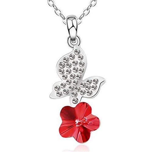 (Fashion Womens Butterfly Red Crystal Rhinestone Silver Chain Pendant Necklace A1)