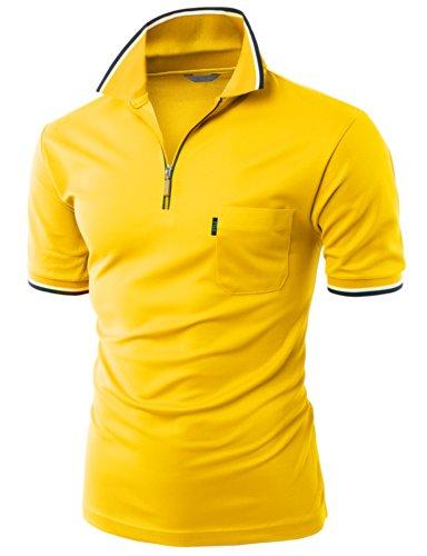 Front Zipper Collar T-shirt YELLOW M