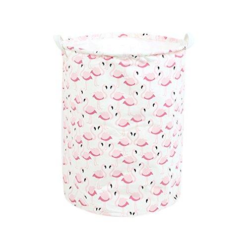 Fablcrew Panier à linge Cute Flamingo à laver de nettoyage Sac de rangement Poubelle Seau jouet Organiseur Rose