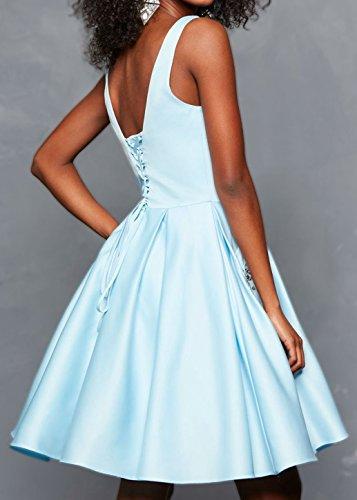 Robe Courte Womens Retour À La Maison De Bal Satin Col V Avec Robe De Bal Du Parti Poches Perles Dos Nu Brl17 Bleu Royal