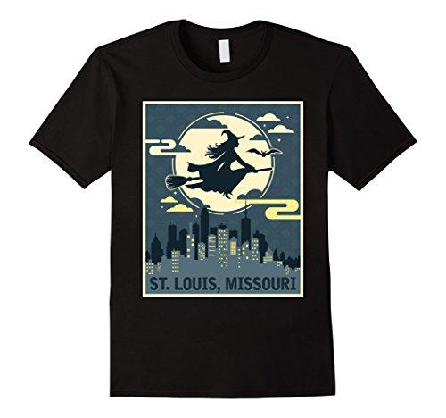 Mens St Louis Missouri Witch Halloween Night T-shirt 2XL Black