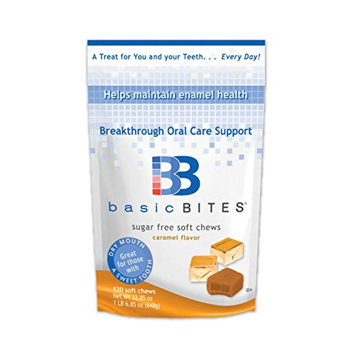 - BasicBites Help Protect Enamel From Dry Mouth and Sugar Acids, Prebiotic Technology Developed At U.S. Dental School, Delicious Sugar-Free Soft Chews (Caramel 120 Count-Two Month Supply)