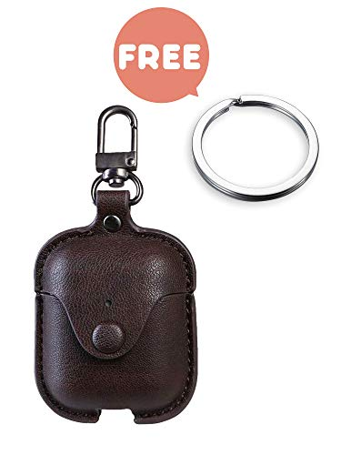 Premium Leather Airpods Case Cover with Keychain, Portable Shockproof Cover Skin for airpod Earphones Protective Cases Charging Case with Carabiner [Brown]