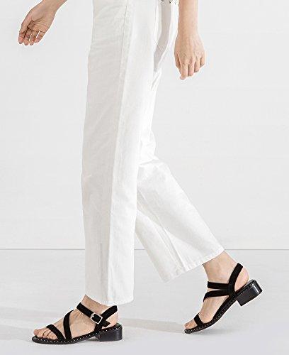 DHG 38 tacco Nero Tacchi da tacco basso basso Sandali casual piatti estivi donna a alla moda alti Sandali con Pantofole Sandali RArZTwqR