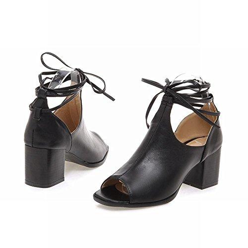 Sandals Fashion Retro Bandage Womens Peep Heel Carolbar Black Chunky toe Mid xqzOFX
