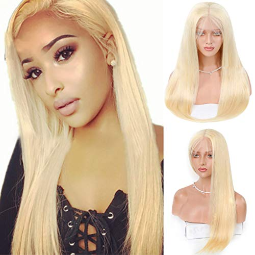 SOOTOP Brazilian Long Gold Straight Wigs Lace Front Hair Wig Heat Resistant Synthetic Colorful Cosplay Daily Party Wig for Women Natural Looking Heat Resistant (Best Hair Relaxer 2019)