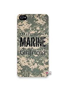 Proud Marine Girlfriend United States USA Camo Apple Iphone 4 Quality TPU Soft Rubber Case for Iphone 4/4s - AT&T Sprint Verizon - White Case