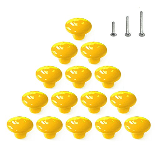 (15PCS Yellow Glossy Ceramic Knobs Round Cabinet Dresser Vintage Pulls Door Handles Cupboard Wardrobe Drawer, Dia. 1.5 inch (38mm))