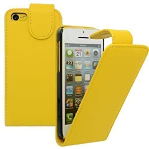 Funda Con Tapa Para Móvil para Apple iPhone 5c Amarillo - Bolso De Cuero Del Faux Cáscara De La Cubierta