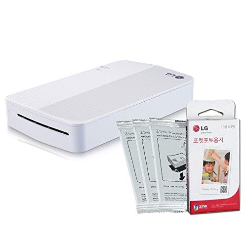 [Printer+Paper SET] New LG Pocket Photo Printer 3 PD251 [White] (Follow-up model of PD241T PD239) + LG Zink Photo Paper [30 Sheets]