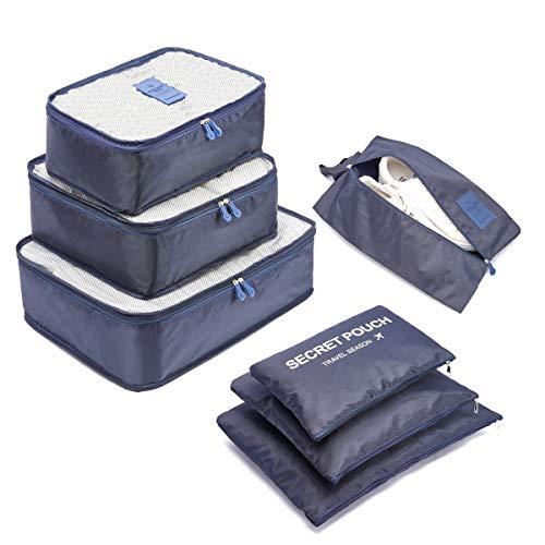 🥇 Organizador de Equipaje,LOSMILE 7 en 1 Set Impermeable Organizadores de Viaje para Maletas,3 Cubos de Embalaje +3 Bolsas de Almacenamiento+1 Saco de Zapatos.(Azul Oscuro)