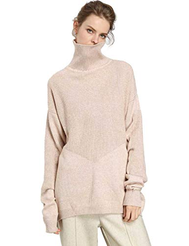 (FINCATI Women's Sweater Pullover Turtleneck Cashmere Wool Soft Cozy Ribbed Elbow Oversized Long Sweaters Tunic (B-Beige, One Size))