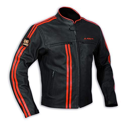 A-Pro Lederjacke Herren Biker Motorrad CE Protektoren Echtleder Thermic Orange XL