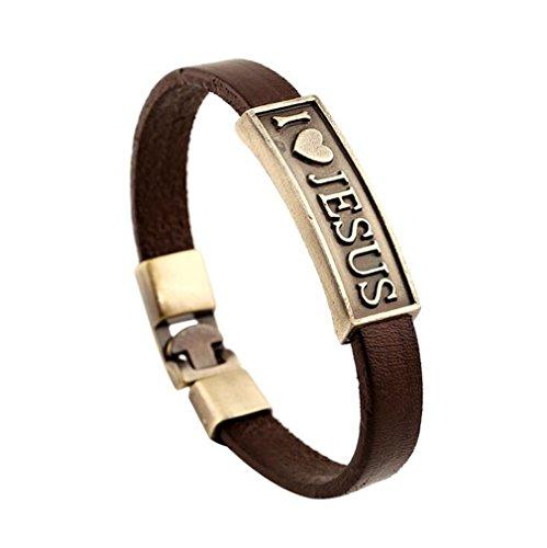 New style retro leather bracelet raided Cuff Bangle Punk bracelet(I love jesus)
