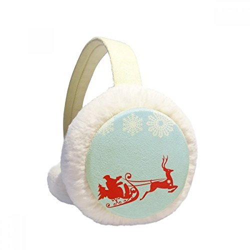 Price comparison product image Christmas Elk Sled Snowflake Pattern Winter Earmuffs Ear Warmers Faux Fur Foldable Plush Outdoor Gift