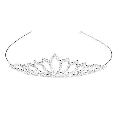 Pixnor Wedding Tiara Bridal Rhinestone Decor Hairband Hair Clip Hair Loop Tiara -
