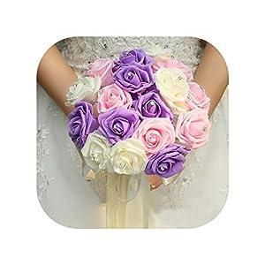 mamamoo Colorful Bridesmaid Wedding Foam Rose Flowers Bridal Bouquet Crystal Ribbon Wedding Bouquet for Women 39