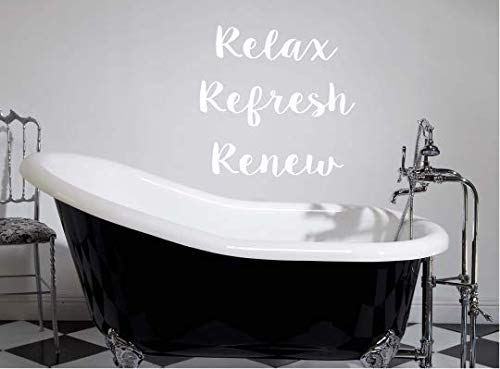 Relax, Refresh, Renew(W) Decal, Bathtub Sticker, DIY Bathroom Decal Vinyl Art, Mural, Transfer, Quote, 13