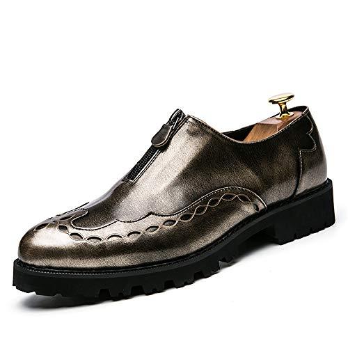 Sunny&Baby Men's Oxfords Mirror PU Leather Design Flat Heel Slip On Shoes Abrasion Resistant (Color : Light Gold, Size : 7.5 D(M) US) ()