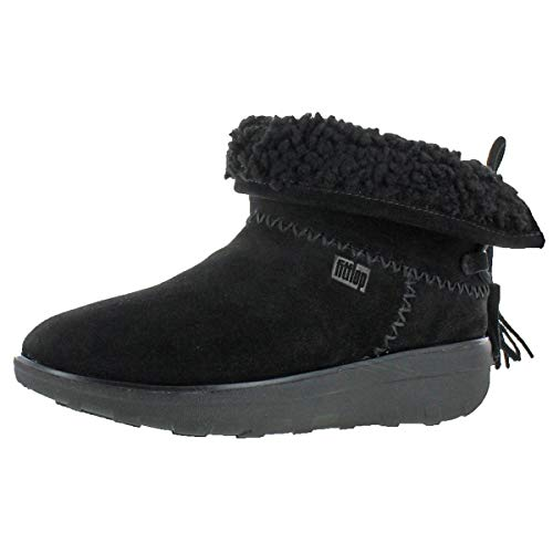 FitFlop Womens Mukluk Shorty II with Tassels Boot Shoes, Black Suede, US 11