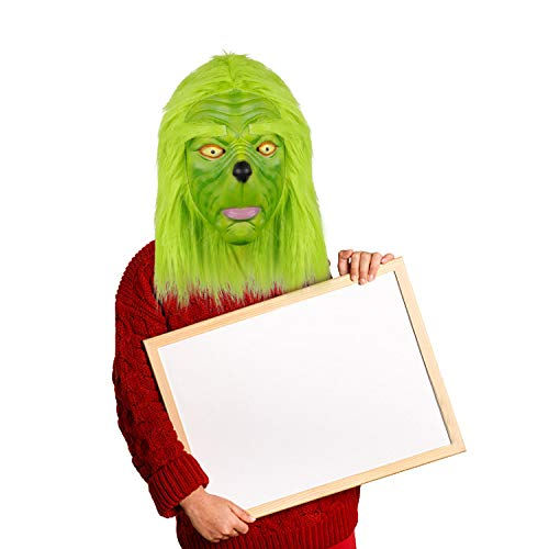 Waylike Funny Novelty Christmas Grinch Mask Deluxe Latex Green Full Head Costume Collectible Prop Scary Mask Toy]()