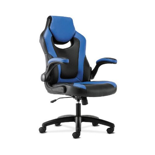 basyx by HON Racing Gaming Computer Chair- Flip-Up Arms, Black and Blue Leather (HVST913) by HON